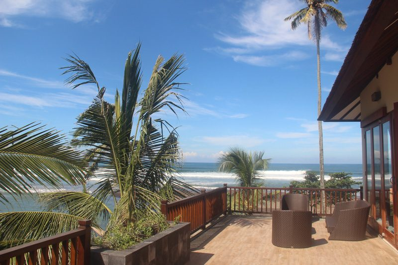 View of the waves at Balian from the villa terrace