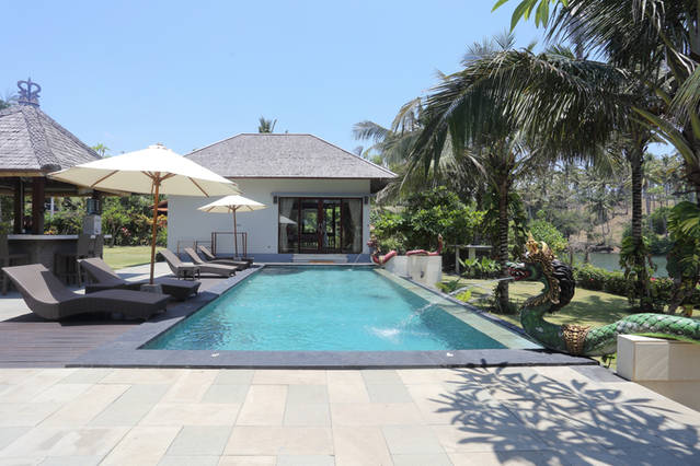 View from villa across pool to guest house