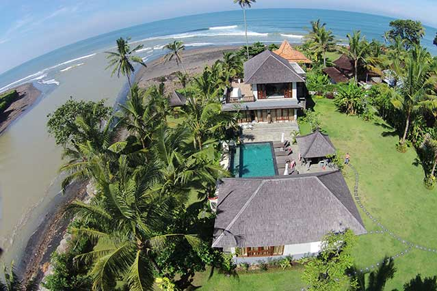 Drone view of guest house and villa