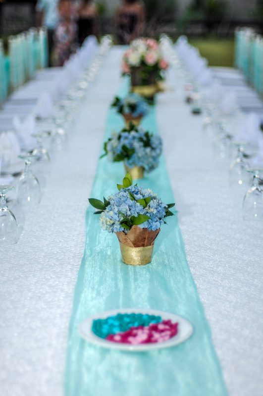 Table set at Balian wedding